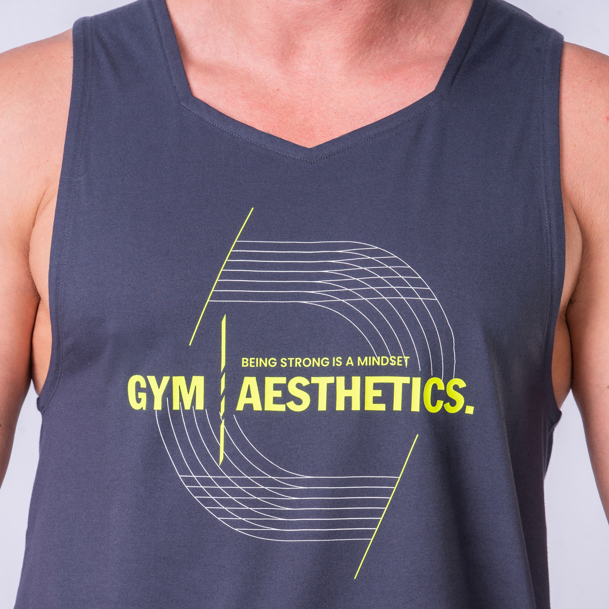 Essential Cotton Touch Gym Stringer for Men in Charcoal | Gym Aesthetics