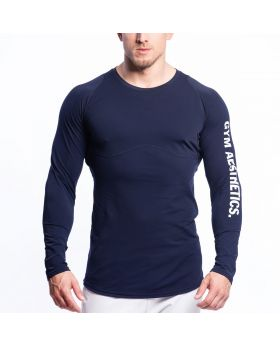 Gym Aesthetics | Performance Tight-Fit T-Shirt for Men in Dark Navy - previw