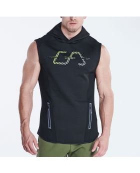 Gym Aesthetics | OutRun Hoodie Vest for Men in Black - previw
