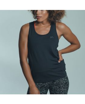 Gym Aesthetics | Workout 'Powerful' Ladies Tank Top in Black - previw