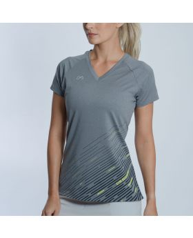 Basic Performance' Ladies Gym Sport Tee in Melange Grey- preview