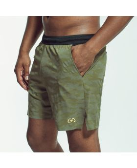Gym Aesthetics | Sport Shorts for Men in Olive with Reflective Print - preview
