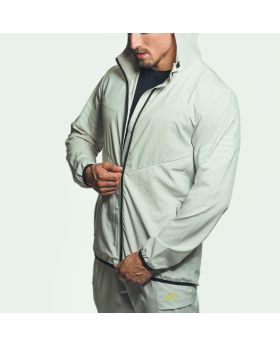 Gym Aesthetics | Packbare Windbreaker 'Performance' Jacke mit Kapuze für Herren in Grau - previw