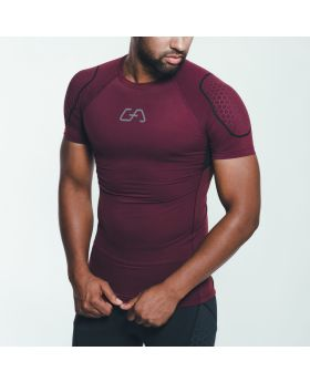 "Gym Aesthetics | ""HiTense"" Compression Men's Sport Tee in Burgundy - preview"
