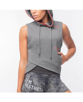 "Bundle Set: Sleeveless Hoodie ""Strength"" + Boxing Hotpants ""Strength"" in Charcoal"