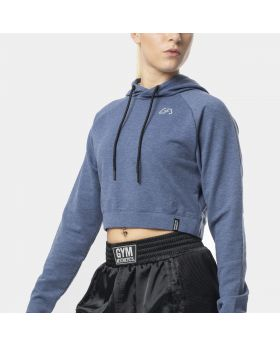 """Cropped hoodie """"RAWSTRNGTH"""" for women in blue   Gym Aesthetics"""