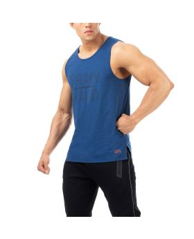 "Gym tank tops mens ""Train Hard"" for fitness in blue"